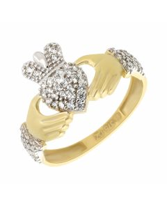 New 9ct Yellow Gold Cubic Zirconia Claddagh Ring