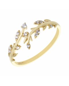 New 9ct Yellow Gold Cubic Zirconia Floral Band Dress Ring