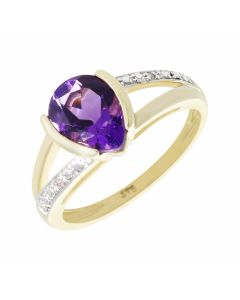 New 9ct Yellow Gold Pear Shaped Amethyst & Diamond Cluster Ring