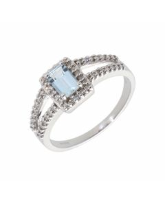 New 9ct White Gold Aquamarine & Diamond Cluster Ring