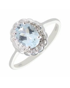 New 9ct White Gold Aquamarine & Diamond Oval Cluster Ring
