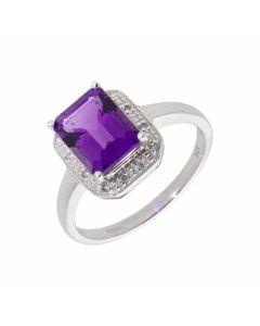 New 9ct White Gold Amethyst & Diamond Dress Ring