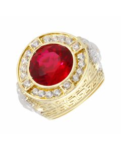 New 9ct Gold Red/White Cubic Zirconia Versace Inspired Mens Ring