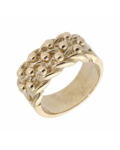 New 9ct Yellow Gold Wide Heavy 3 Row Mens Keeper Ring 16.g