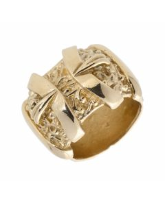 New 9ct Yellow Gold Heavy Pattern Double Buckle Ring 1.5oz