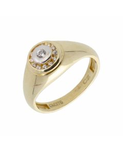 New 9ct Yellow Gold Cubic Zirconia Mens Dress Ring
