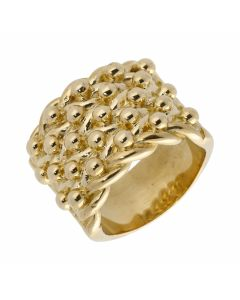 New 9ct Yellow Gold Heavy Mens 5 Row Keeper Ring 1.1oz