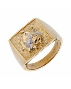 New 9ct Yellow Gold Diamond Set Bulldog Ring