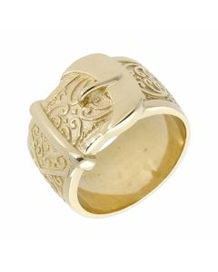 New 9ct Yellow Gold Heavy Solid Pattern Buckle Ring 22.3g