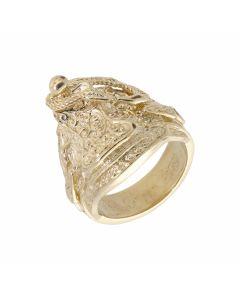 New 9ct Yellow Gold Mens Saddle Design Ring 22g