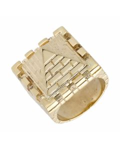 New 9ct Yellow Gold Pyramid Mens Ring