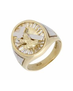New 9ct Gold Cubic Zirconia Cross Design Oval Mens Ring