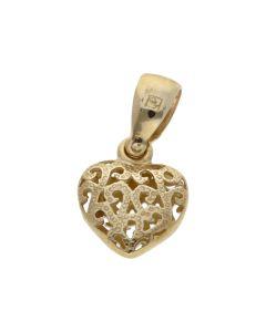 New 9ct Yellow Gold Small Filigree Heart Pendant