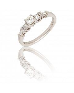 New 18ct White Gold 0.58ct Diamond Fancy Detail Ring