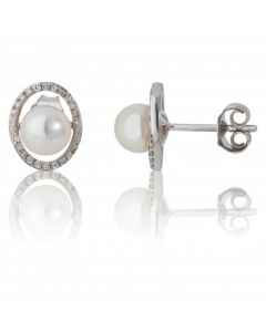 New 9ct White Gold Fresh Water Cultured Pearl & Diamond Earrings