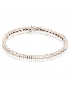 New 18ct White Gold 3.45ct Princess Cut Tennis Diamond Bracelet