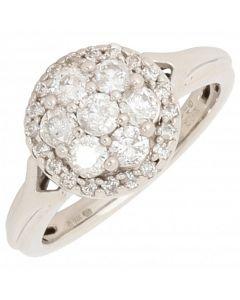 Pre-Owned 9ct White Gold 0.52 Carat Round Diamond Cluster Ring