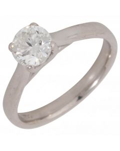 Pre-Owned 18ct White Gold 0.90 Carat Diamond Solitaire Ring