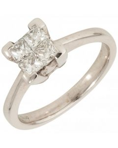 Pre-Owned 18ct White Gold 4 Stone Diamond Dress Ring