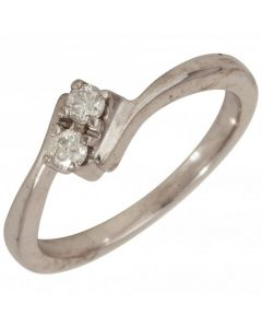 Pre-Owned 18ct White Gold 0.15 Carat Diamond 2 Stone Twist Ring