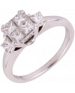 Pre-Owned 18ct White Gold Princess Cut Diamond Cluster Ring