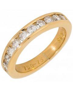 Pre-Owned 18ct Yellow Gold 0.75 Carat Diamond Half Eternity Ring