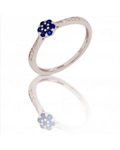 New 9ct White Gold Sapphire & Diamond Round Flower Cluster Ring