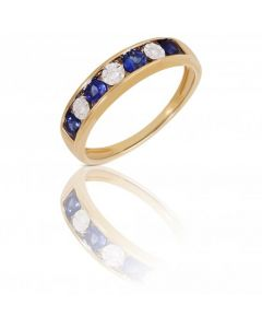 New 9ct Gold Sapphire & Diamond Half Eternity Ring