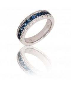 New 9ct White Gold Sapphire & Diamond Eternity Band Ring