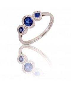 New 9ct White Gold Sapphire & Diamond Three Oval Cluster Ring