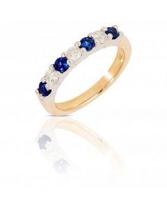 New 9ct Yellow Gold Sapphire & Diamond Eternity Ring