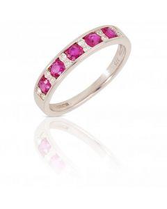 New 9ct White Gold Ruby & Diamond Eternity Ring