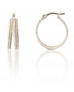 New Rhodium Finish Silver Moondust Double Hoop Creole Earrings