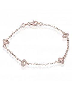 New Sterling Silver Heart Link Ladies Belcher Bracelet