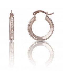 New Sterling Silver Crystal Set Round Hoop Earrings