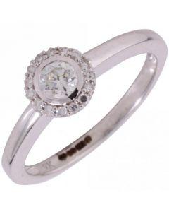 New 9ct White Gold 0.25 Carat Diamond Halo Cluster Ring