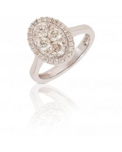 New 18ct White Gold 1.00 Carat Oval Diamond Cluster Ring