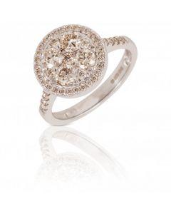 New 9ct White Gold 1.02ct Round Halo Diamond Cluster Ring