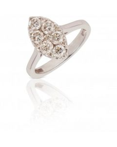 New 18ct White Gold 1.00ct Marquise Shape Diamond Cluster Ring
