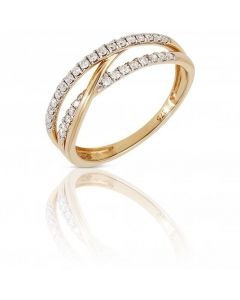 New 9ct Yellow Gold Diamond Set Crossover Band Dress Ring