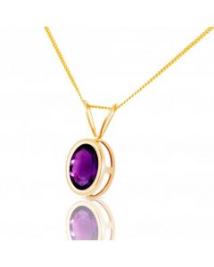New 9ct Gold Amethyst Pendant & 18 Inch Necklace