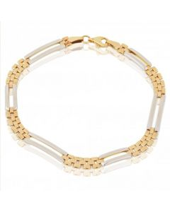 New 9ct Two Colour Panther Link & Open Rectangle Link Bracelet