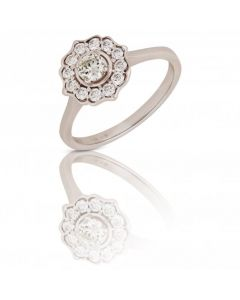 New 14ct White Gold 0.52ct Diamond Vintage Inspired Cluster Ring