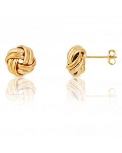New 9ct Yellow Gold 9mm Double Knot Stud Earrings