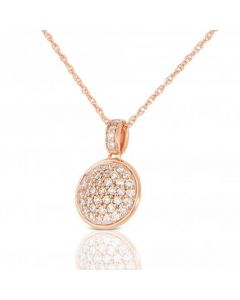 New 9ct Rose Gold 18 Inch Diamond Circle Necklace
