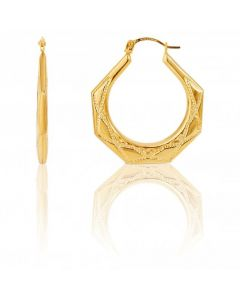 New 9ct Yellow Gold Patterned Harlequin Creole Hoop Earrings