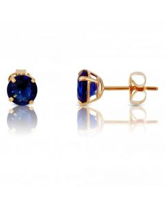 New 9ct Yellow Gold Blue Cubic Zirconia Stud Earrings