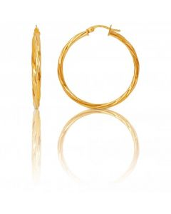 New 9ct Yellow Gold 35mm Polished Twisted Hoop Earrings