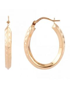 New 9ct Yellow Gold Diamond Cut Oval Hoop Earrings