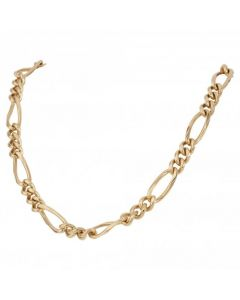Pre-Owned 9ct Yellow Gold 20 Inch Faceted Figaro Chain Necklace